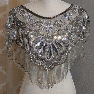 Silver Sequin & Bead Fringe Bib Shawl Dress Cape